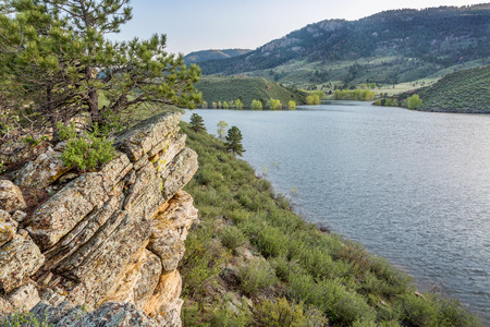 horsetooth reservoir: sandstone cliff and cove - Horsetooth Reservoir near Fort Collins, Colorado, at springtime