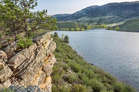 sagebrush: sandstone cliff and cove - Horsetooth Reservoir near Fort Collins, Colorado, at springtime