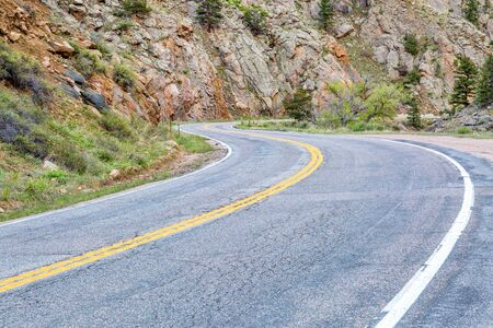 collins: windy, Colorado highway 14 in Poudre Canyon at Big Narrows west of  Fort Collins