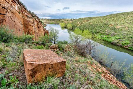 horsetooth rock: sandstone block and old sandstone quarry on lake shore - Horsetooth Reservoir, Fort Collins, Colorado