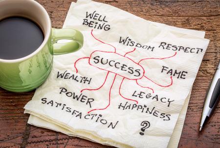 커피 한잔과 함께 냅킨에 성공 개념이나 mindmap 스톡 콘텐츠