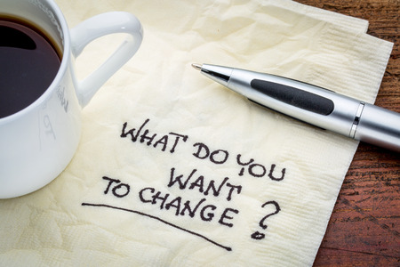want: What do you want to change? Handwriting on a napkin with cup of espresso coffee Stock Photo