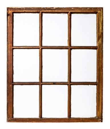wood window: panel of vintage, grunge, sash window with dirty glass