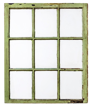 grunge frame: panel of vintage, grunge, sash window with dirty glass (9 panes), isolated on white with a clipping path