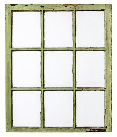 panel van vintage, grunge, schuifraam met vuile glazen (9 ruiten), die op wit met een clipping path Stockfoto