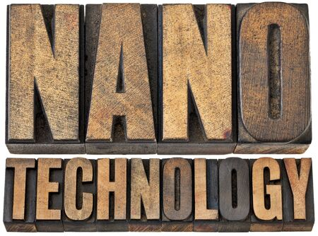 manipulating: nanotechnology  (manipulating matter on an atomic and molecular scale) -- isolated word abstract in vintage letterpress wood type