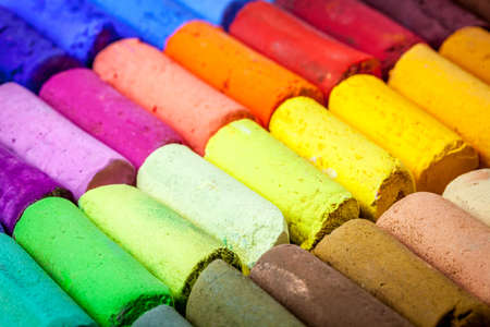 soft colors: soft artist pastel crayons with vibrant blue, red, green, yellow colors - abstract
