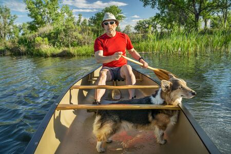 fort collins: senior male paddler in a canoe with a Corgi dog, springtime scenery on a local lake in Fort Collins, Colorado Stock Photo