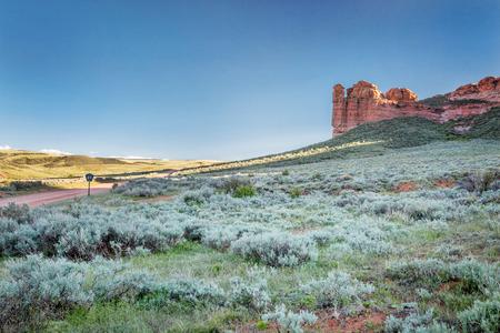 rock creek: prairie, shrubland and sandstone rock formation in northern Colorado near Wyoming border -Ssnd Creek National Landmark