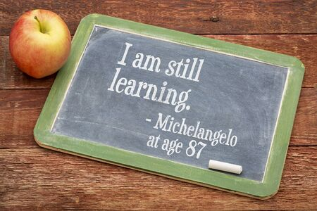 michelangelo: I am still learning - Michelangelo at age 87 - continuous education concept  on a slate blackboard against red barn wood Stock Photo