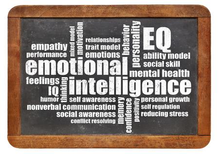 emotional intelligence: emotional intelligence (EQ) word cloud on an isolated vintage blackboard