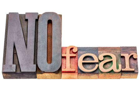 no fear: NO fear - isolated word abstract in mixed vintage letterpress printing blocks Stock Photo