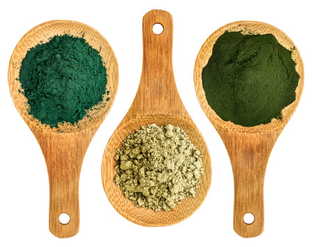 spirulina, kelp and chlorella supplement powders - top view of isolated wooden spoon Imagens