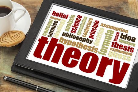 이론 커피 한잔과 디지털 태블릿에 단어 구름