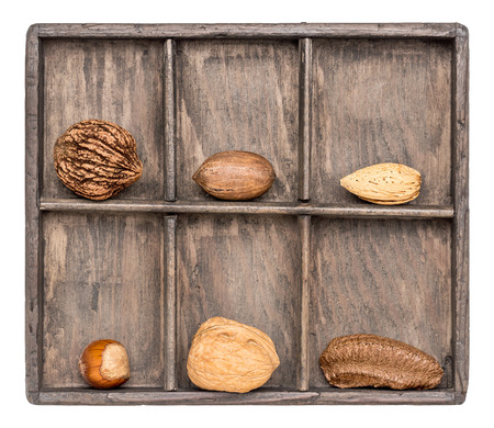 shadow box: a variety of nuts (walnut, pecan, hazelnut, Brazilian and almond)  in a rustic wooden shadow box, isolated on white