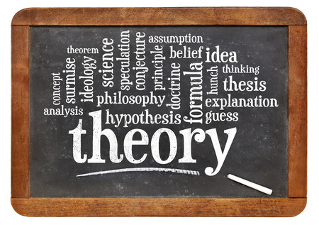 theory: theory word cloud on an isolated vintage slate blackboard