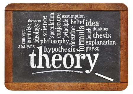theory word cloud on an isolated vintage slate blackboard