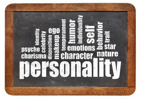 psique: palabra personalidad nube en una pizarra de la vendimia aislado