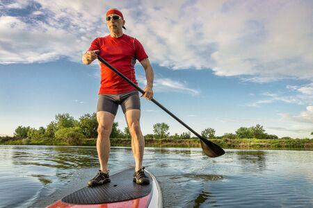 paddleboard: senior muscular male paddler enjoying paddling on stand up paddleboard, calm lake in summer scenery