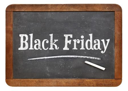 黒い金曜日印 - 白いチョーク分離のビンテージ スレート黒板上のテキスト