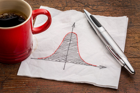 normal distribution: Gaussian (bell) curve or normal distribution graph on white napkin with a cup of coffee Stock Photo