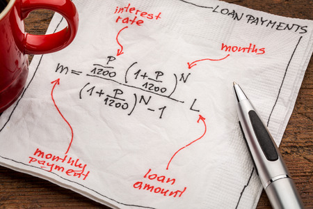 equation: loan payment equation sketched on a white napkin with a cup of coffee
