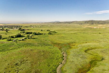 front range: aerial view of foothills prairie along Front Range of Rocky Mountains near Fort Collins, Colorado, early summer scenery Stock Photo