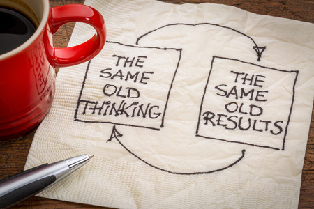 konzepte: das alte Denken und enttäuschende Ergebnisse, Closed-Loop-oder negativen Bewertung mindset-Konzept - eine Serviette Doodle mit einer Tasse Kaffee Lizenzfreie Bilder