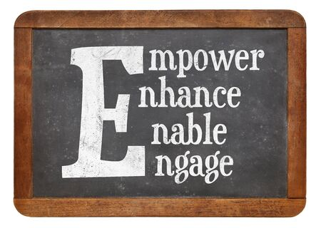 empower: Empower, enhance, enable, engage word abstract - white chalk text on a vintage slate blackboard