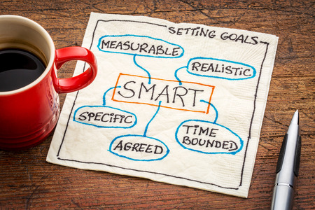 metas: De SMART (espec�ficos, mensurables, acordados, realistas, de duraci�n determinada) la fijaci�n de objetivos concepto - un doodle servilleta en una mesa de madera del grunge con una taza de caf� Foto de archivo