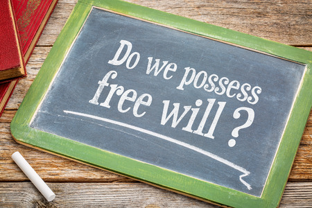 Do we possess free? A question in  white chalk on a vintage blackboard with a stack of books against rustic wooden table