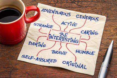 mindmap: how to be interesting -- a word cloud or mindmap with positive character features -  a motivational doodle on a napkin with a cup of coffee Stock Photo
