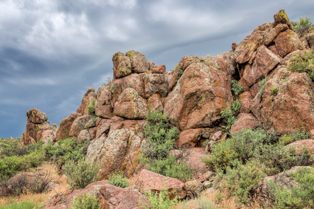 fort collins: sandstone rock formation under stormy sky - Eagle Nest Open Space near Fort Collins, COlorado, summer scenery