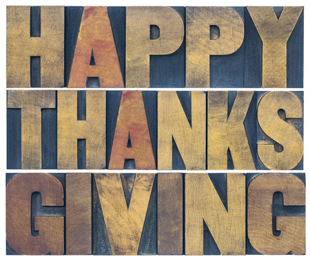Happy Thanksgiving greeting card or poster - isolated text in vintage letterpress wood type blocks scaled to a rectangle shape