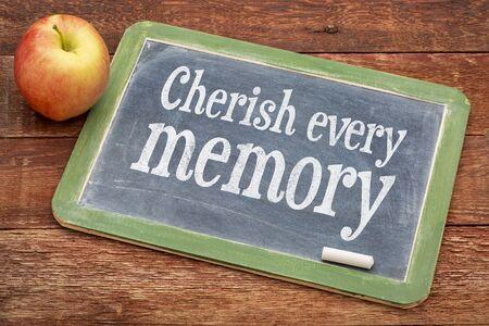 cherish: Cherish every memory  - inspirational words  on a slate blackboard against red barn wood