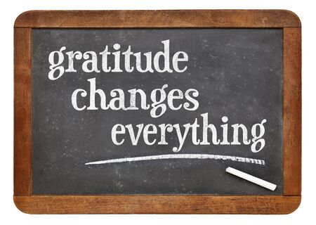 grateful: Gratitude changes everything - inspirational text on a vintage slate blackboard