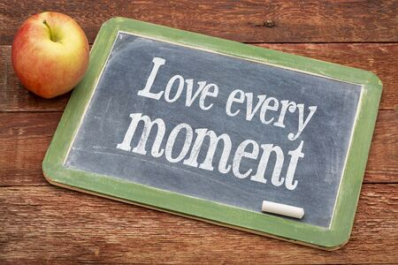 attitudes: Love every moment advice  - positive words on a slate blackboard against red barn wood Stock Photo