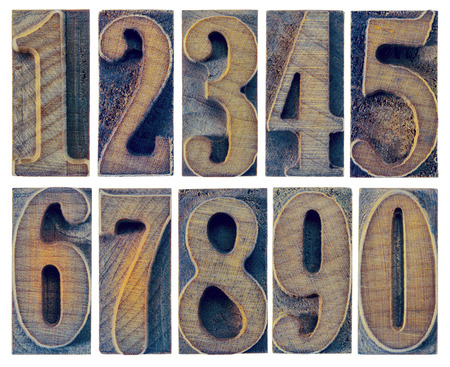letterpress type: ten numbers from zero to nine in letterpress wood type printing blocks isolated in white