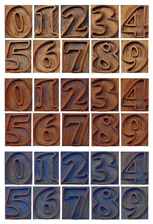 wood stain: isolated outlined numbers in letterpress wood type - three sets with different wood stain Stock Photo