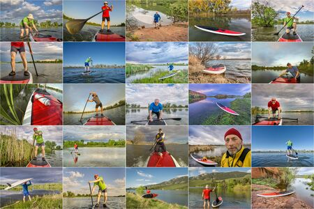 60 years old: collection of stand up paddling pictures from lakes in Colorado featuring  the same 60 years old male model