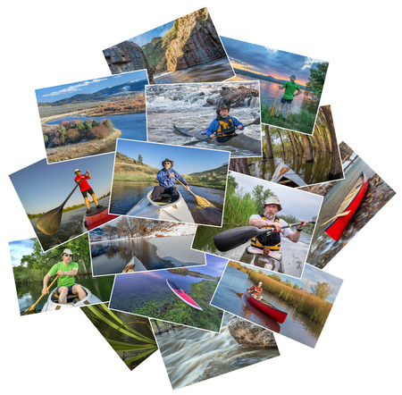 kayak: collection of paddling pictures from lakes and rivers of Colorado featuring kayaks, canoes and stand up padleboards  and the same male model - random pile isolated on white Stock Photo