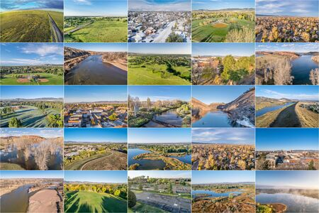 fort collins: collection of aerial landscape pictures from Fort Collins and northern Colorado featuring city downtown, residential areas lakes and parks at different seasons Stock Photo