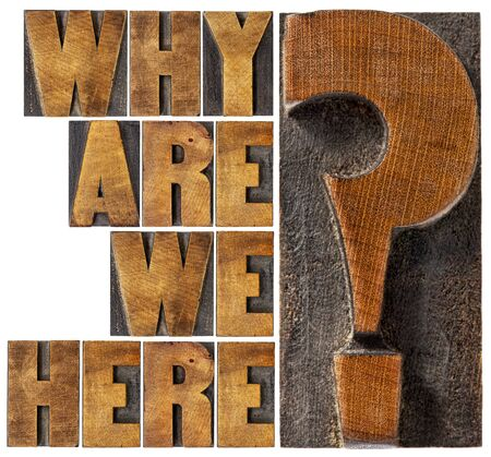 printing block block: why are we here philosophical and spiritual question - isolated word abstract in letterpress wood type blocks Stock Photo