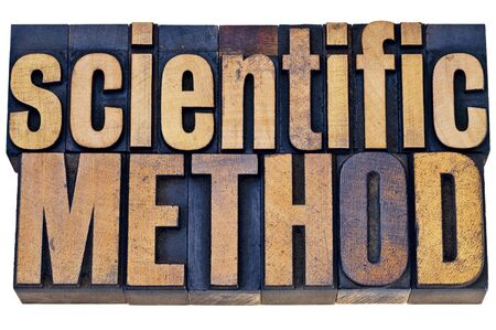 science scientific: scientific method - science research concept - isolated  word abstract in grunge letterpress wood type blocks Stock Photo