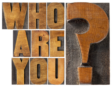 who are you question - isolated word abstract in letterpress wood type blocks Stock Photo