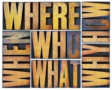 toma de decision: qui�n, qu�, c�mo, por qu�, d�nde, cu�ndo, preguntas - lluvia de ideas o concepto de toma de decisiones - un collage de palabras aisladas en �poca grunge tipo bloques de madera de tipograf�a Foto de archivo
