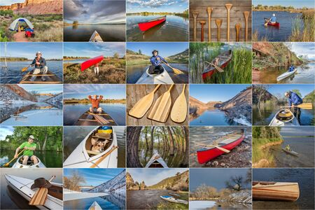 portage: picture collection from canoe paddling  and trips on lakes and rivers in Colorado, Wyoming and Utah featuring the same male paddler