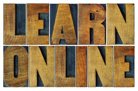 wood type: learn online word abstract - isolated text in letterpress wood type Stock Photo