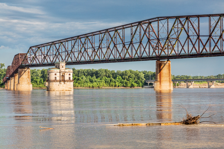 mississippi: The Old Chain of Rocks bridge and historic water (intake) tower on the Mississippi River near St Louis Stock Photo