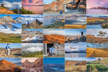 crampon: picture collection from hiking mountains and foothills of northern Colorado featuring the same male hiker
